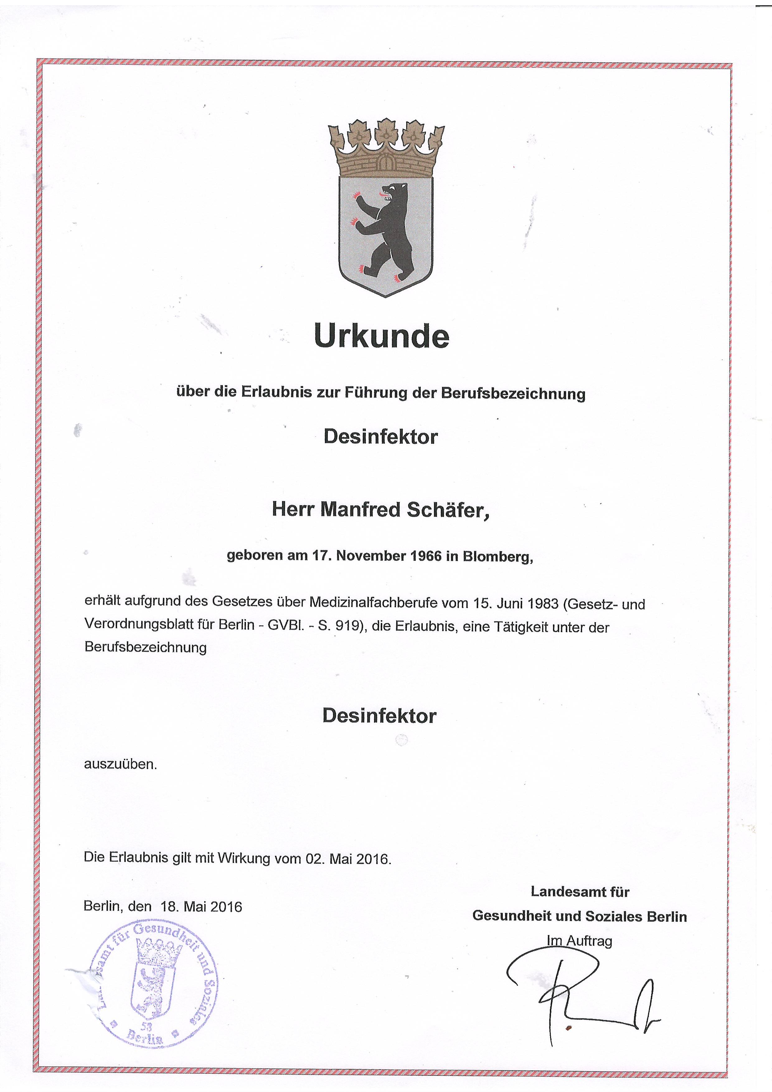 Zertifikate   Köhler GmbH Dienstleistungen aller Art